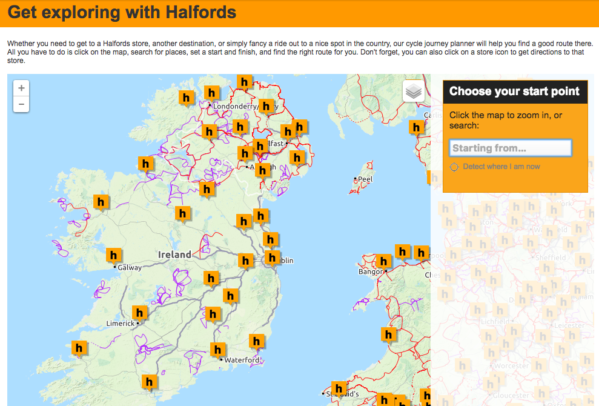 Halfords.ie cycle journey planner